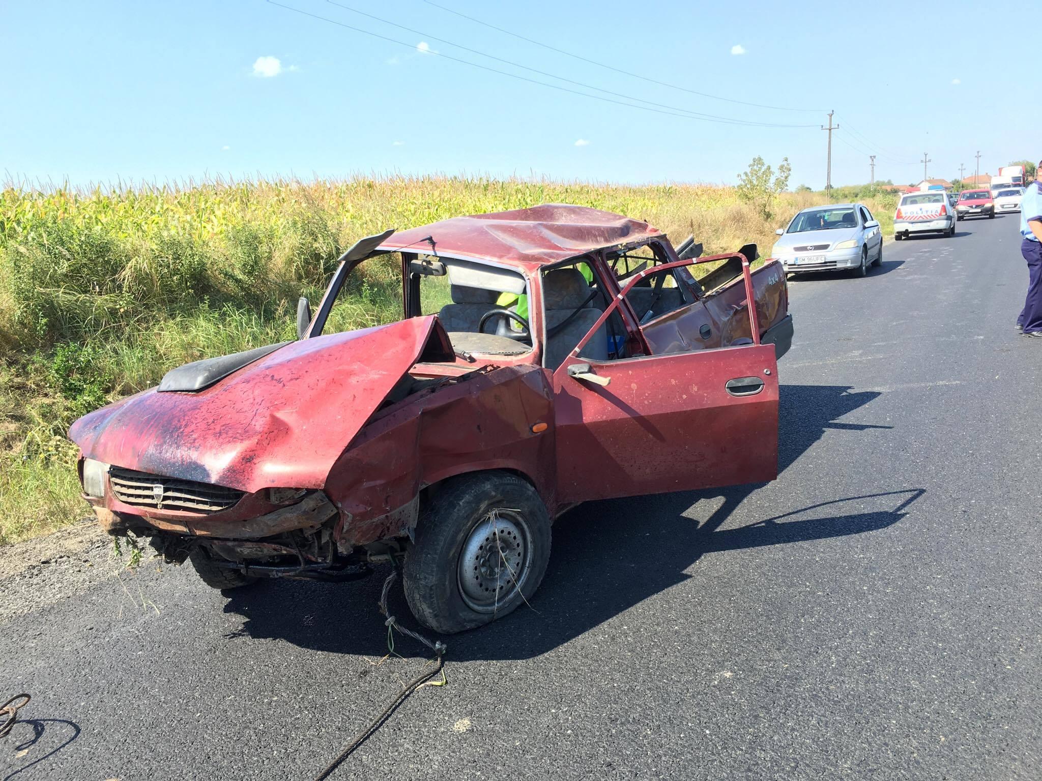 Accident între Ardud și Mădăras. Incredibil cum arată mașina