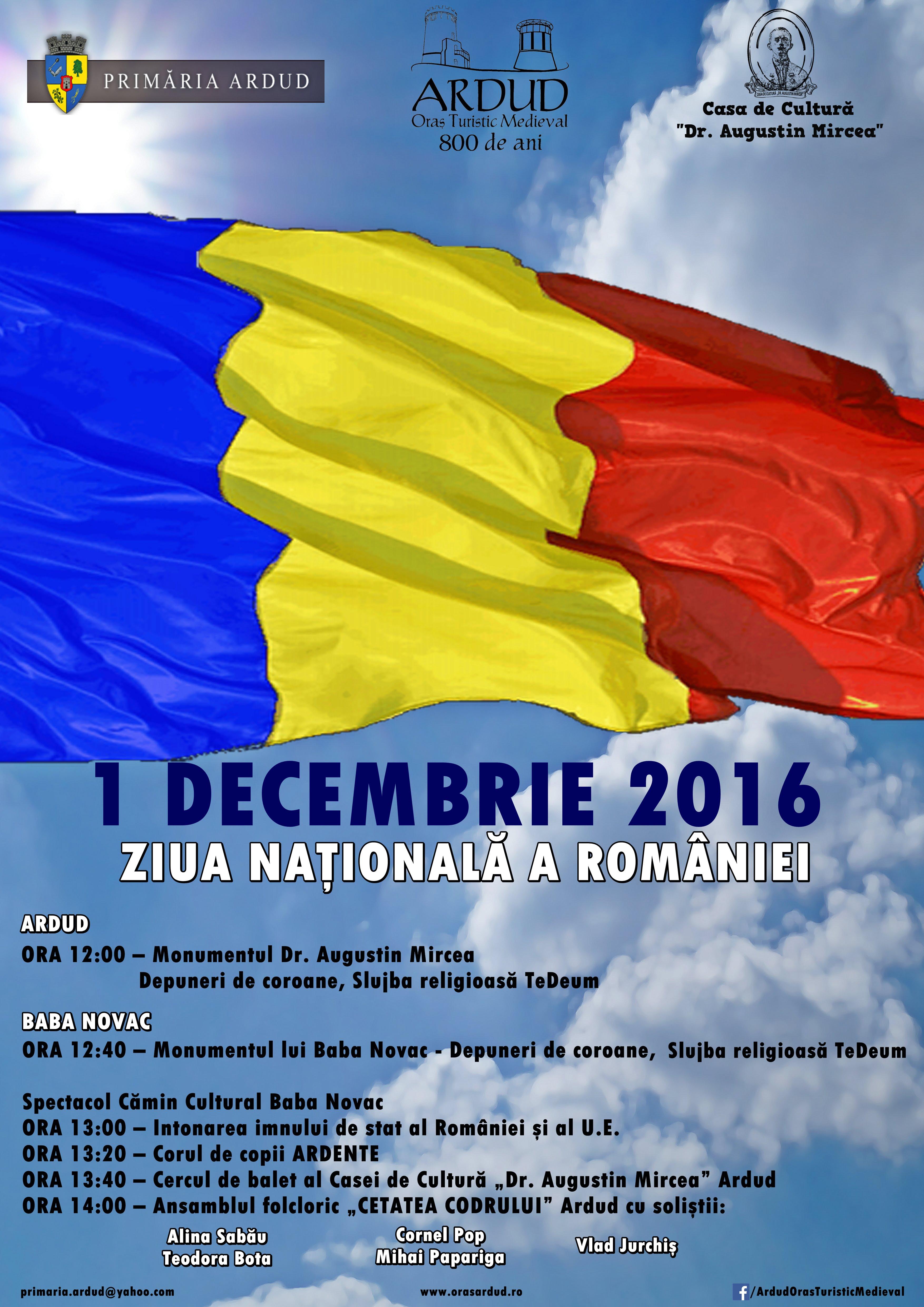 Programul manifestărilor dedicate zilei de 1 Decembrie la Ardud