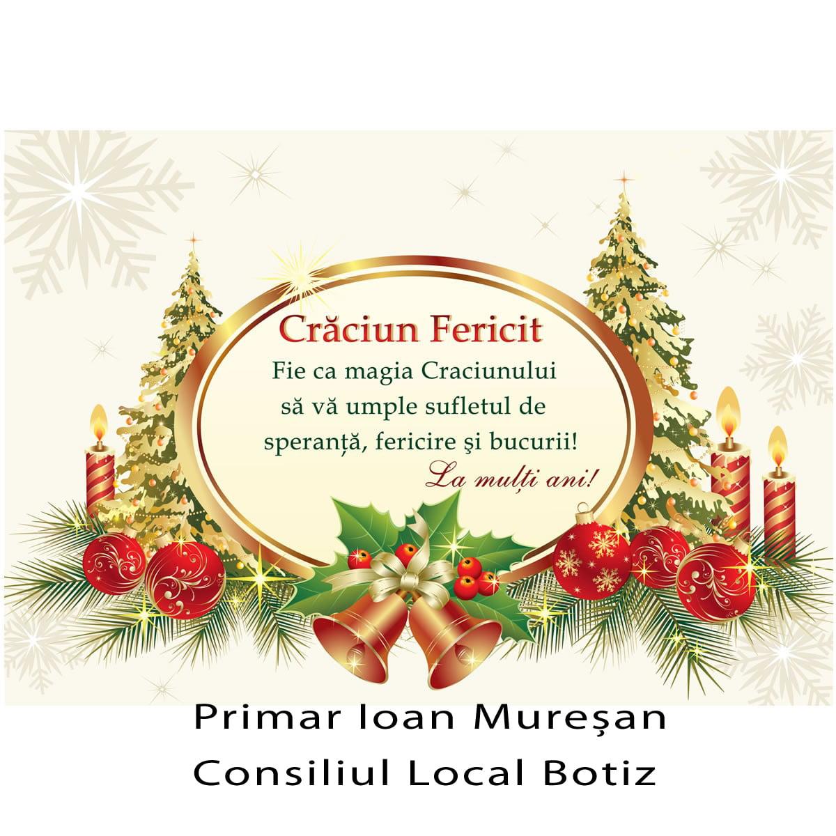 """Conducerea comunei Botiz urează sătmărenilor """"Crăciun Fericit"""""""