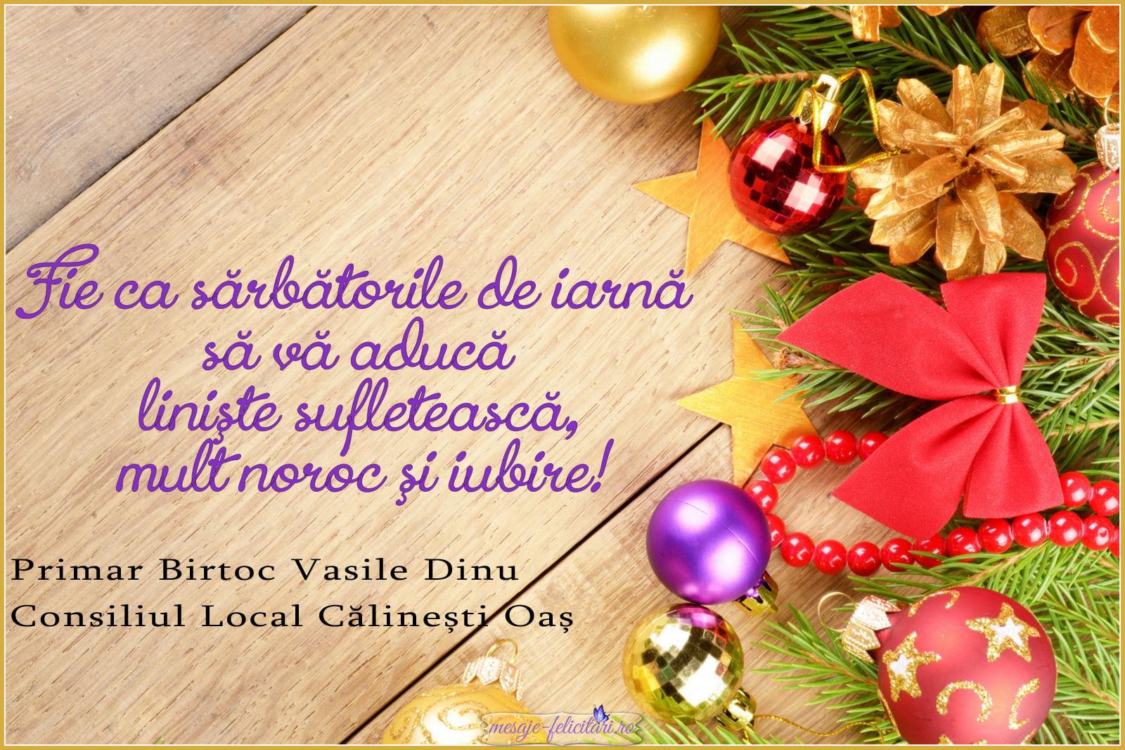 Mesajul de sărbători al conducerii comunei Călinești Oaș pentru sătmăreni