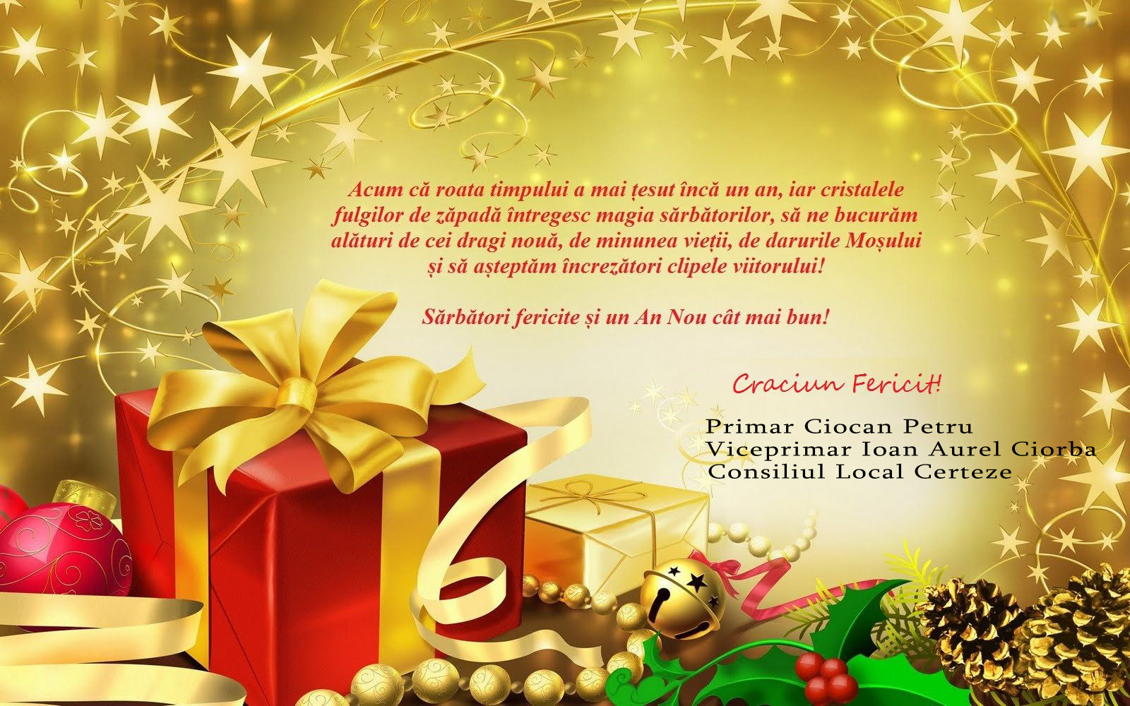 Mesajul de Crăciun al Primăriei Certeze, pentru toți certezanii, din toată lumea