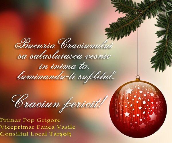 """""""Crăciun Fericit tuturor"""", din partea Primăriei Târșolț"""