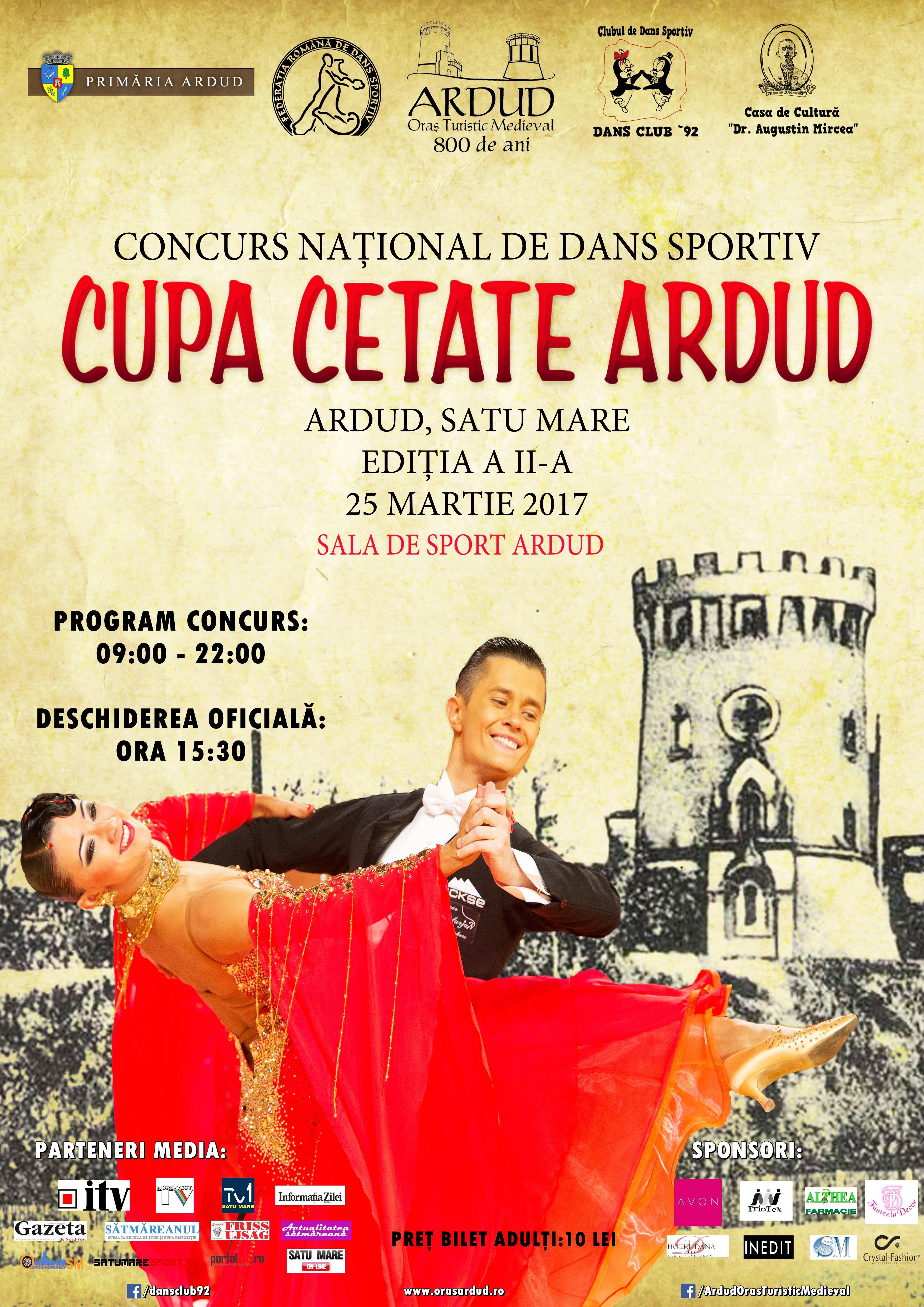 """Sute de dansatori în acest weekend la Ardud, la concursul de dans sportiv """"Cupa Cetate Ardud"""""""