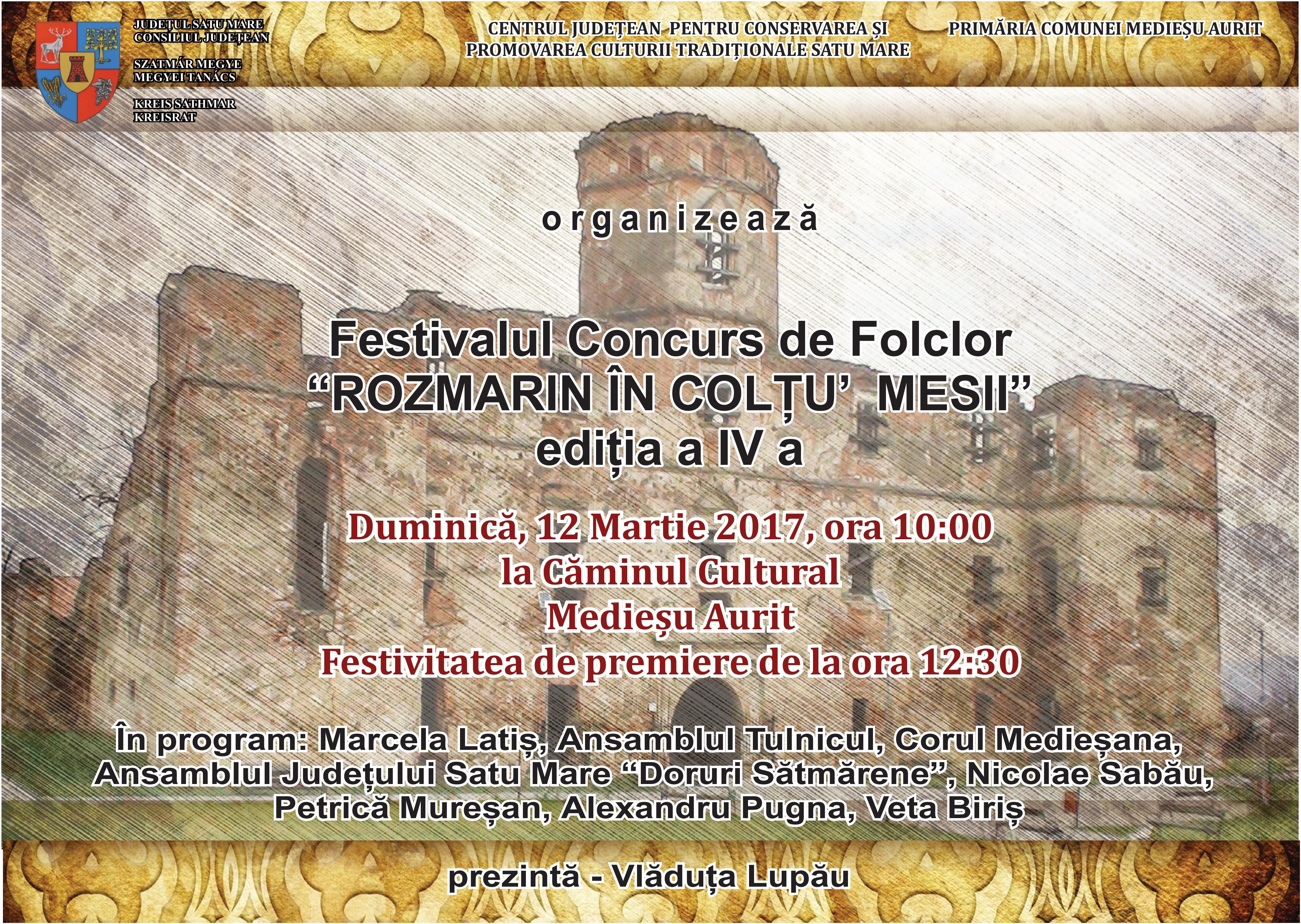 """Festivalul concurs de folclor """"Rozmarin în colţu' mesii"""" a ajuns la cea de-a IV a ediție"""