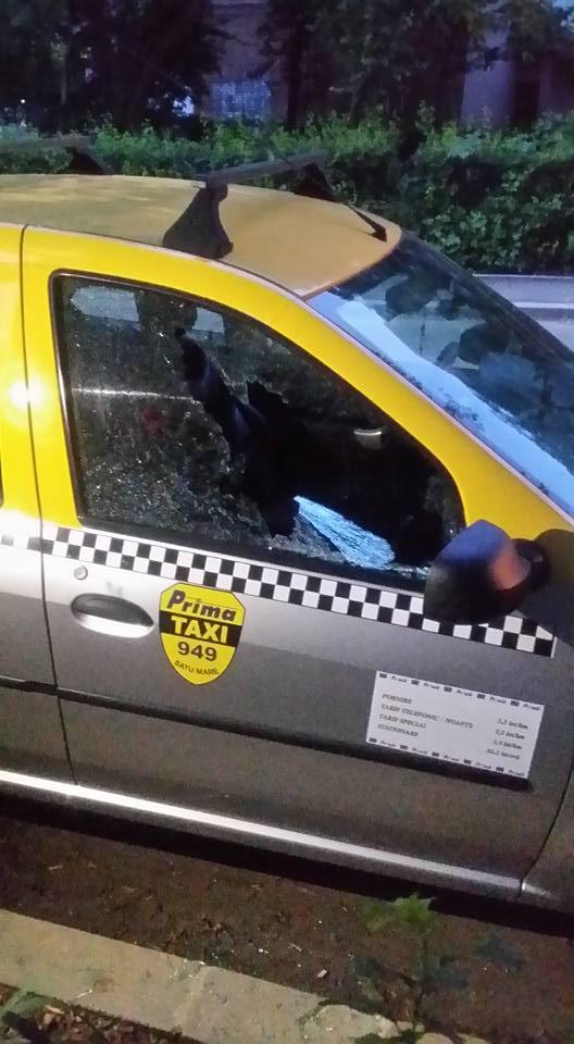 Surpriza de duminică dimineața pentru un taximetrist – cioburi în loc de geam