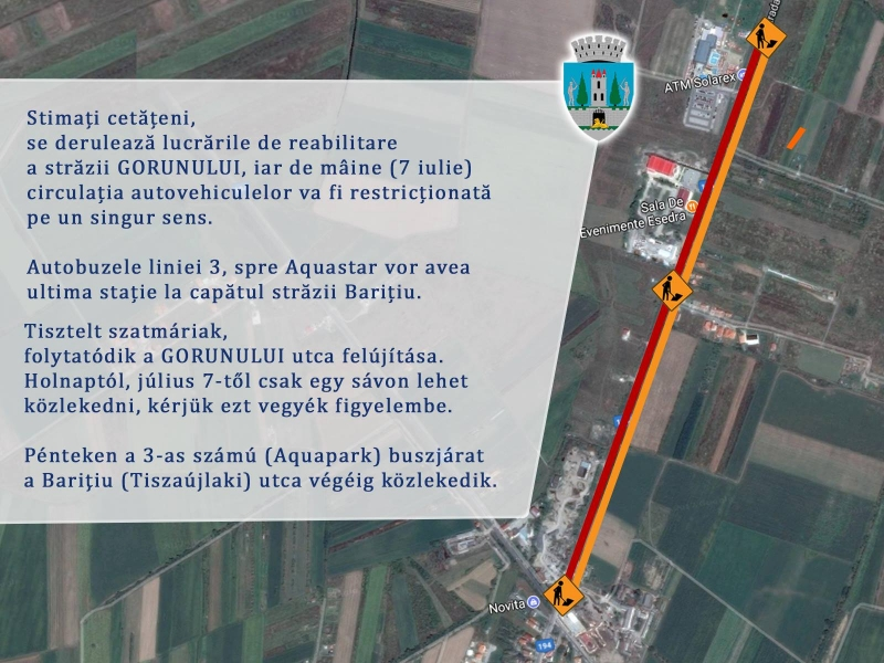 Restricții de circulație pe strada Gorunului