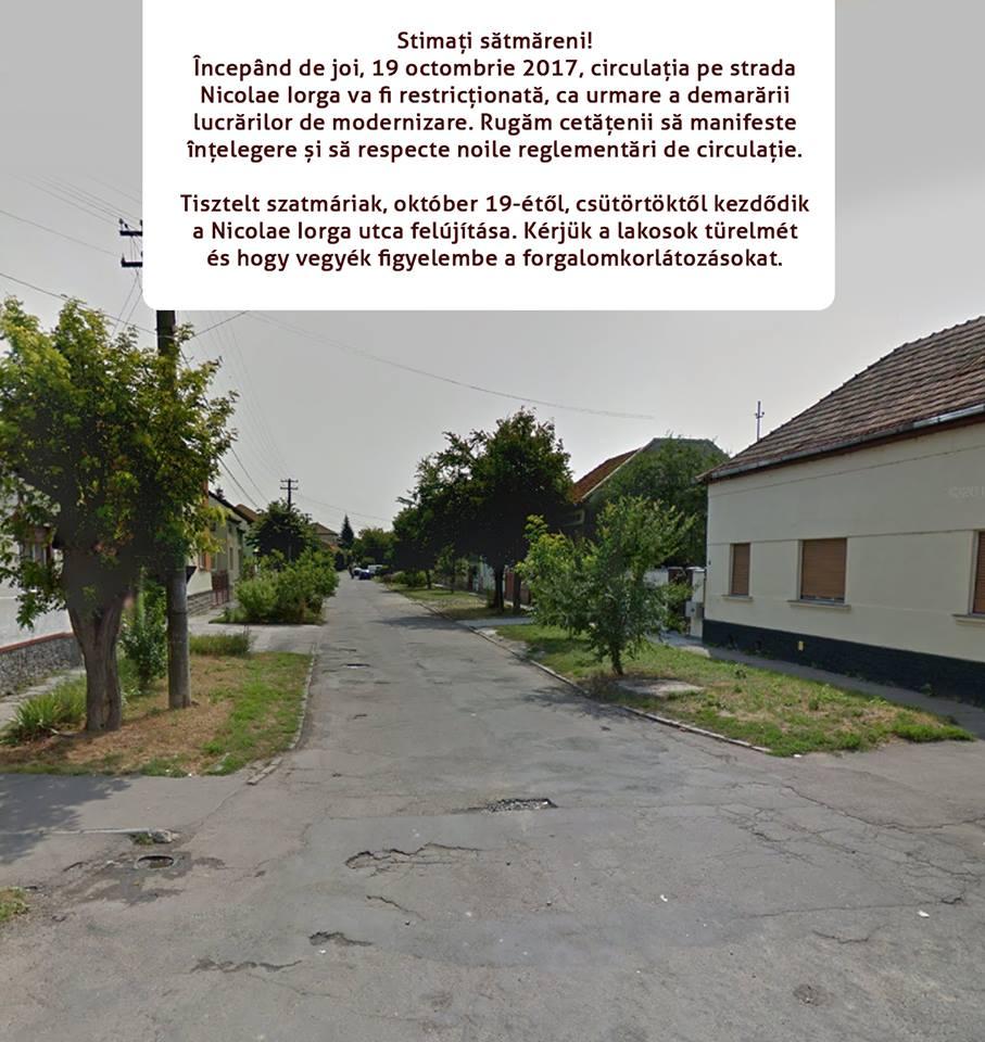Ma reggel megkezdték a Nicolae Iorga utca felujítását