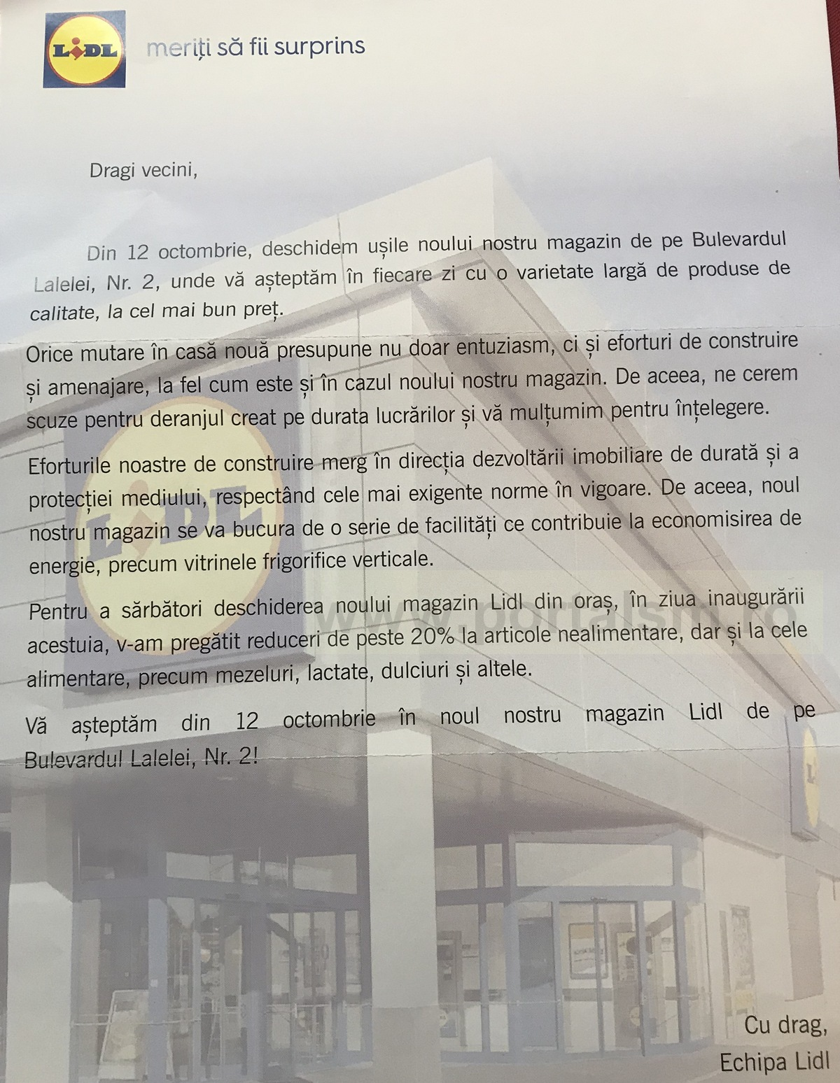 LIDL deschide magazinul de pe strada Careiului joi. Se anunță reduceri generoase