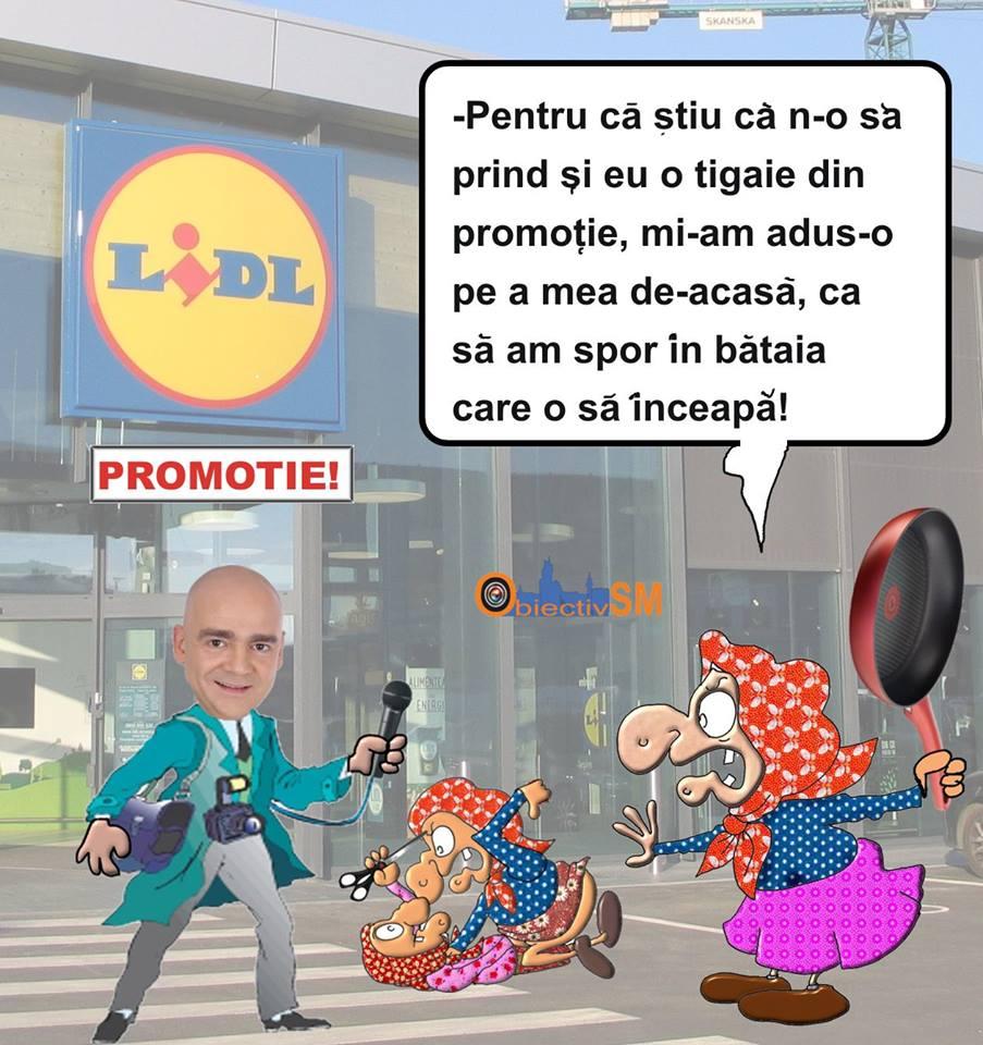 CARICATURA ZILEI!! Promoție la LIDL, bătaie cu tigăi