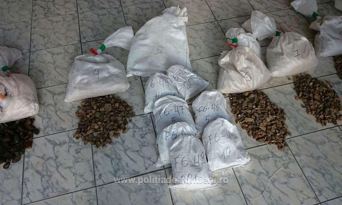 Transport de 88 kg de chihlimbar oprit la Vama Petea