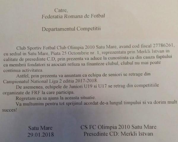"""Olimpia a fost """"îngropată"""". Conducerea a retras echipa din campionat"""