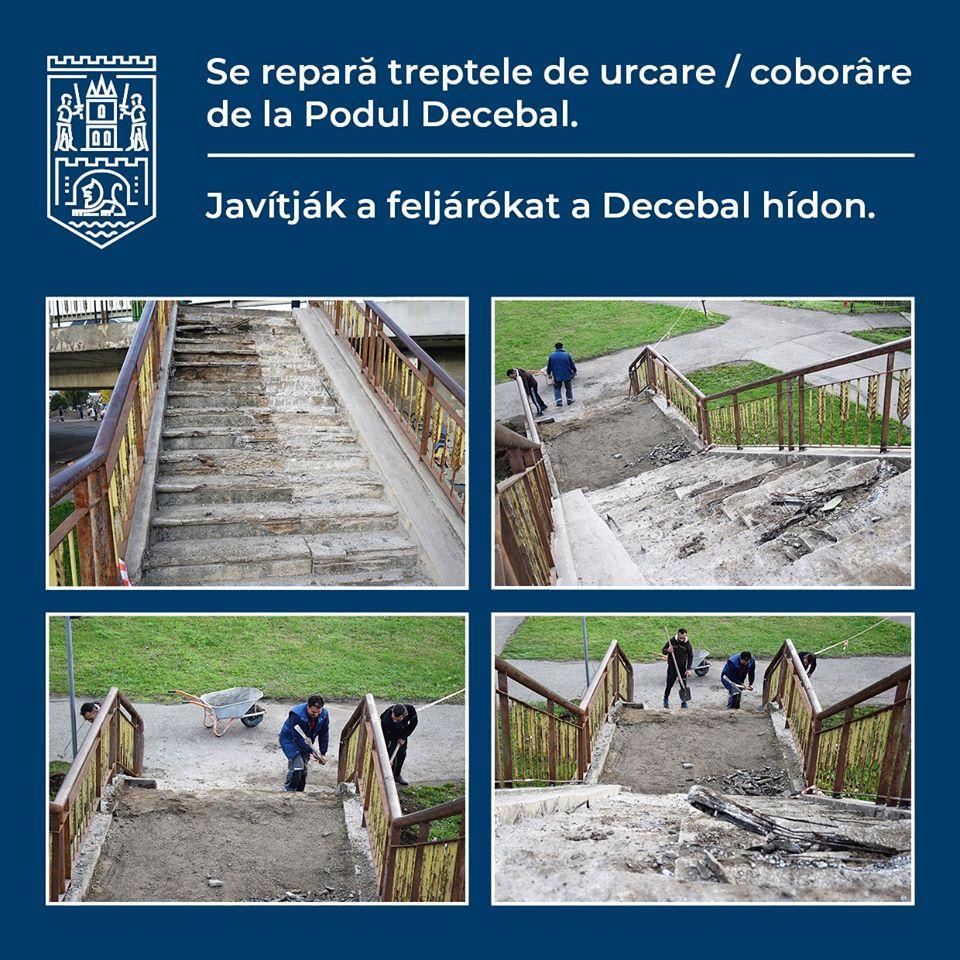 Noroc cu vremea bună! Primăria repară, în sfârșit, scările de urcare pe Podul Decebal