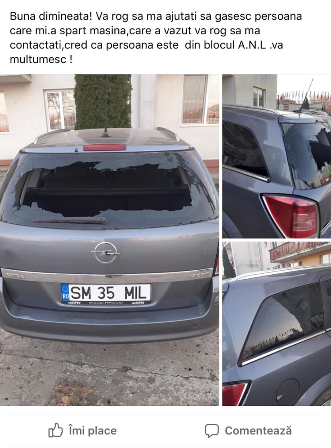 Mașină distrusă de tineri teribiliști și distracția lor cu petarde – se caută autorii