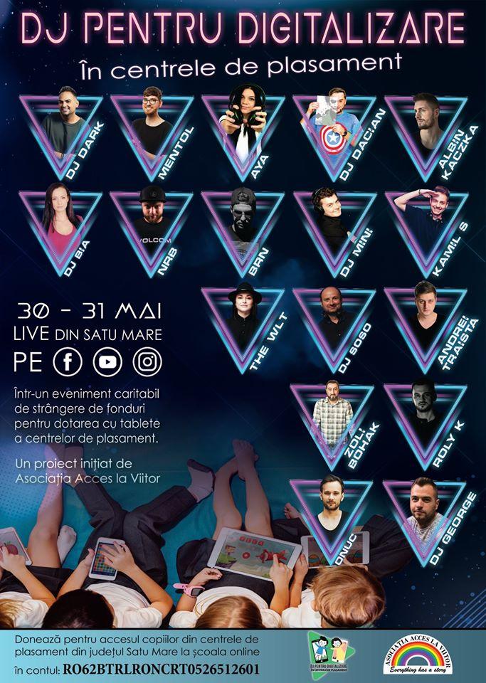 Mai mulți DJ din Satu Mare organizează o petrecere online cu scopul de a strânge bani pentru tablete pentru copiii fără posibilități