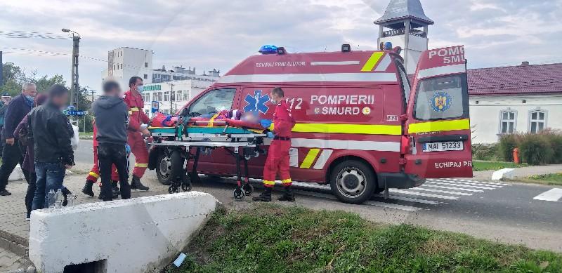 Femeia accidentată ieri la Ardud, pe trecerea de pietoni, a scăpat cu răni ușoare