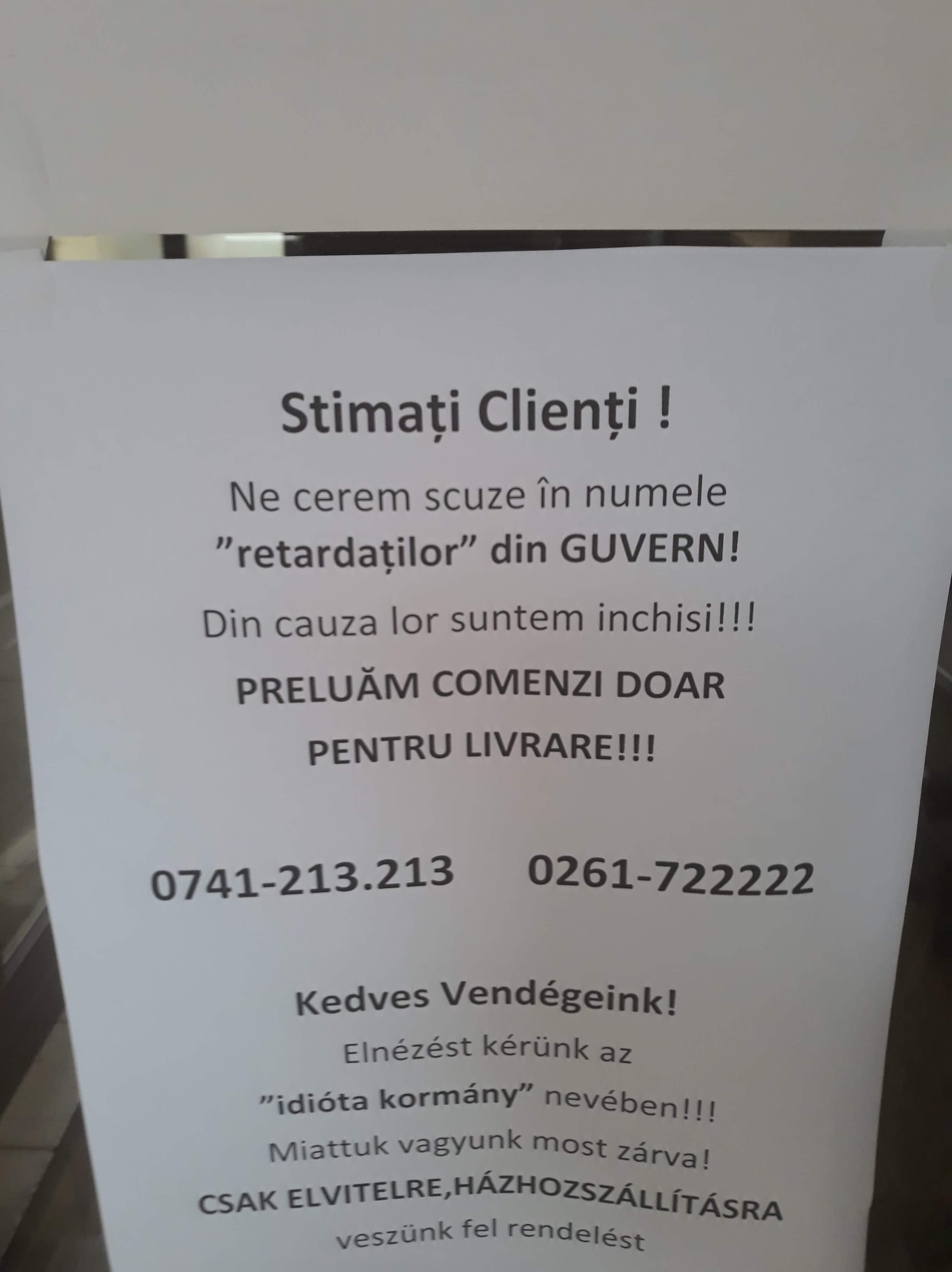 """Anunț în vitrina unui restaurant din Satu Mare : """"retardaților"""" din Guvern"""